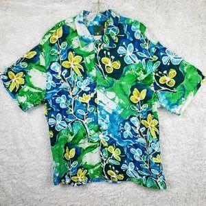 Jams World Crackle Hawaiian Button Down Shirt Sz L